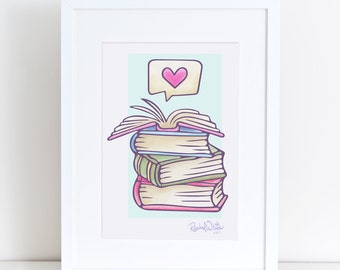 Books - 8x10 Giclee Art Print - pile of books, love books, love to read, reader, heart, love, books, open book, watercolor, art, reading