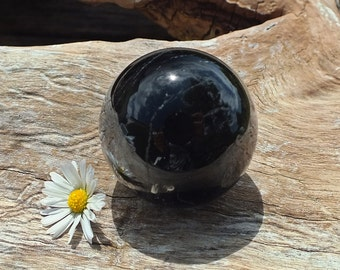 Black Tourmaline Crystal Sphere, Natural, Polished, Mineral - 81.4g / 36mm - Crystal Gridding - Protection - Courage - Grounding (t-sp)