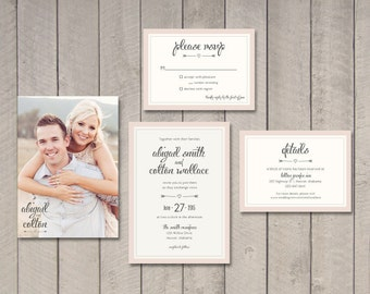 Wedding Invitation, RSVP, Details Card (Printable) by Vintage Sweet