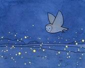 Owl and Fireflies Night Art Print 5x7, Baby Boy Girl Nursery Art