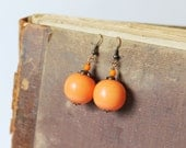SALE Orange Copper Dangle Earrings Orange beads Earrings Pumpkin Earrings Bright Earrings Orange Jewelry Colorful Fall Jewelry Boho 50% OFF