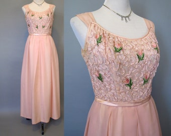 Vintage 60s pink floral maxi dress size small or medium