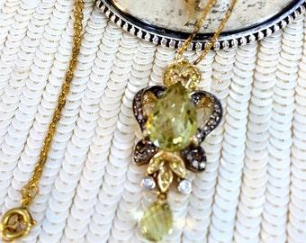 Peridot, Diamond, Golden Topaz, 14K Gold Pendant , 14K Gold Chain, August Birthstone, Vintage Pendant, Peridot Pendant