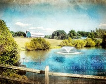 Old Coble Farmstead Pond and Fountain Scenic Landscape Greensboro North Carolina Fine Art Photography Print or Gallery Canvas Wrap Giclee