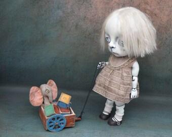 Giclee Fine Art Print. Dark Alley BJD Art Doll with a Toy Wagon.