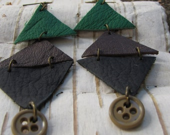 Earthy Boho Leather Triangle Earrings/ Funky Eco Upcycled Geometric Earrings Brown Vintage Button