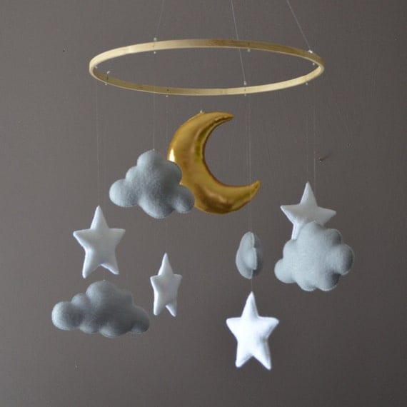 Felt Nursery Mobile With Clouds Stars And Moon