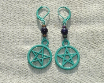 Turquoise Pentagram and Lapis Gemstone Earrings with European Leverbacks
