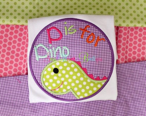 Girl dinosaur embroidered shirt dinosaur shirt girl for Girly dinosaur fabric