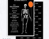 "Skeleton Halloween Party Invitation Printable ""No Bones About It"""