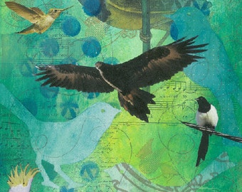 Birds art print instant download original collage bird