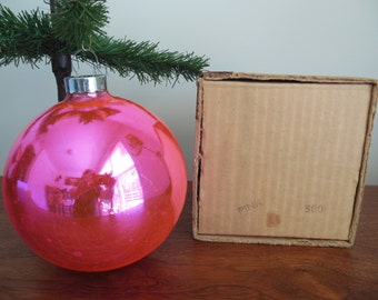 Very Big Pink Shiny Brite Christmas Tree Ornament Hot Pink 5 Inch Glass Ball in Original Box