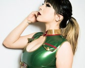 Military Latex Crop Top and Panty Set