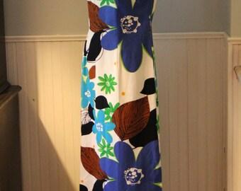 Vintage Alice Polynesian Floral Screen Print Sleeveless Maxi Dress Size Medium