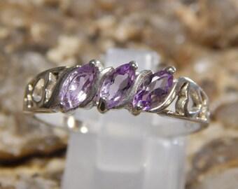 Sterling Amethyst Heart Ring