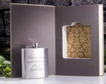 Hollow Book Safe and Hip Flask - Emma by Jane Austen- Vintage (1964) Rare Collector's Book— Custom Engraving — OOAK Wedding Gift
