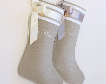 Personalized Christmas stockings Linen Christmas stockings Embroidered stockings Christmas decorations Home decor Personalized