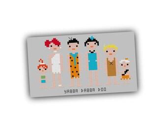 HALF OFF PATTERNS Sale The Flintstones Pixel People Cross Stitch Pattern