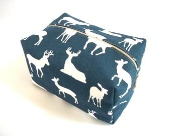 Navy Deer Silhouette Makeup Bag  - Deer Fabric -  Navy Makeup Bag - Wet Bag -Waterproof Bag