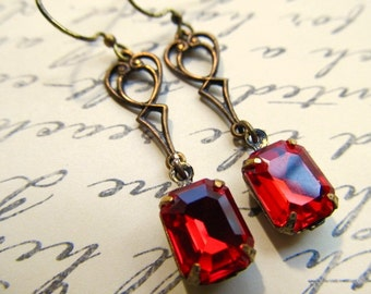 Gothic Earrings Art Deco Earrings Ruby Red Earrings Art Nouveau Earrings 1920s Earrings Red Crystal Earrings Brass Filigree Earrings- Fire