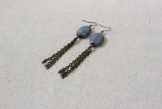 Chain Tassel Earrings, Long Dangle Earrings, Boho Earrings