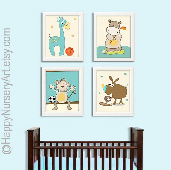 Items Similar To Sports Nursery Art Boys Wall Decor Nursery Animal Print Bo