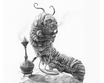 Alice in Wonderland CATERPILLAR pencil drawing