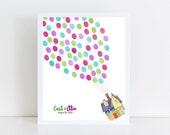 Wedding Guest Book Alternative || flying house, thumbprint balloons, fingerprint, disney pixar up, disney weddings, giclee art print