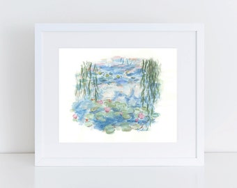 ORIGINAL Monet's Water Lilies Watercolor Painting || monet's water lilies, wall decor, impressionist art, original watercolor painting