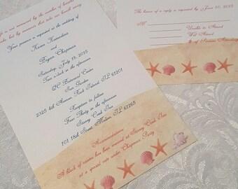 Beach Wedding Invitation with RSVP