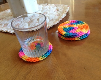 Psychedelic Crocheted Coasters -- Set of 4