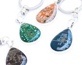 Circuit board keychain - geeky gift - techie IT - drop, resin