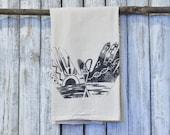 Tea Towel, Screen Printed Flour Sack Towel, Kitchen Towel, Hand Towel, Eco Friendly Cotton Towel, Made in USA