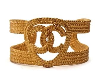 Vintage CHANEL Logo tressé Bracelet manchette