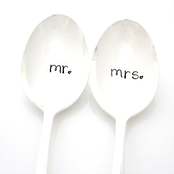 Mr And Mrs Wedding Spoons. Hand Stamped By