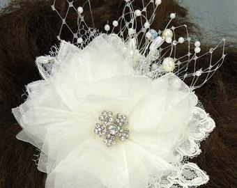 Bridal Hair Fascinator, Ivory Organza Alencon Lace
