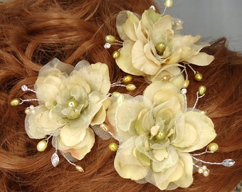 Champagne Vanilla Hair Pins, Delphinium Hair Pins, 3 Hair Pins, Wedding Accessories