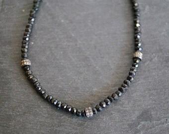 PAVE DIAMONDS black SPINEL necklace