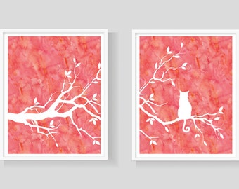 Cat Tree Wall Art Print Set of Two Prints - Pink Watercolor