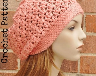 CROCHET HAT PATTERN Instant Pdf Download - Clementine Slouchy Beanie Pattern Womens Teen Summer Fall- Permission to Sell