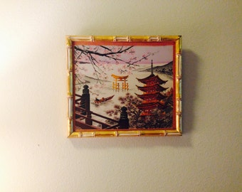 Faux Gold Bamboo Framed Chinoiserie Art Silk thread embroidered Hollywood Regency