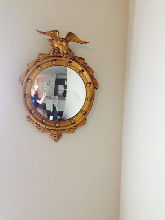 Antique Regency Federal Eagle Convex Mirror