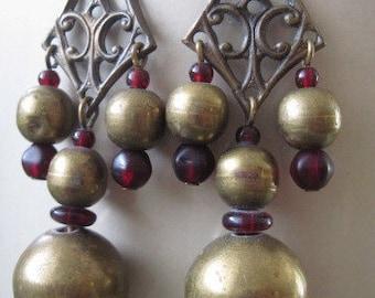 Vintage Boho Long Brass and Glass Beaded Dangle Earrings