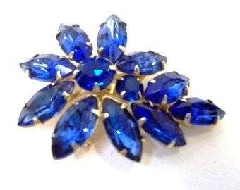 Weiss Blue Rhinestone Brooch Unmarked Weiss Sapphire Blue Bermuda Blue Rhinestone Brooch Capri Blue Designer Brooch  Wedding Bridal DD 773