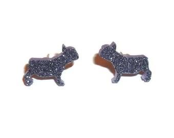 Glitter French Bulldog Earrings, Pastel Lilac Light Purple Dog Stud Earrings, Animal Jewelry, Kawaii Cute Quirky