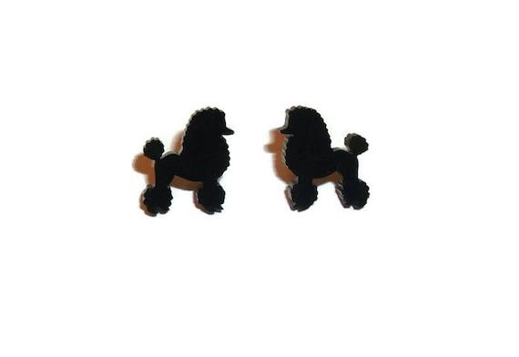 Black Poodle Earrings, Kitsch Rockabilly Cute Dog Stud Earrings