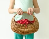 Vintage Red Polka Dot Woven Straw Basket w/ Handle - Mid Century