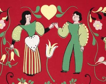 Vintage Figural Heart Couple Wallpaper Roll on Matt Redish Background - Mid Century