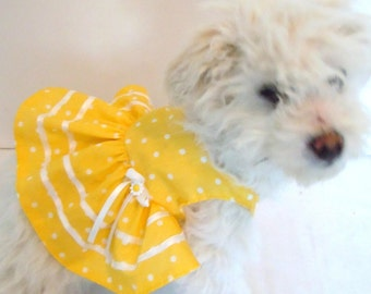 Dog dress, Dog Dress SUNSHINE, Ruffle Yellow Dog Dress, Pet dress,Pet yellow dress, Polka dot dress