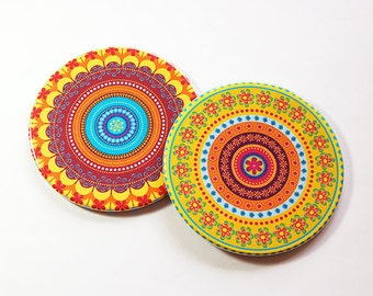 Mandala Coasters, Drink Coasters, Hostess Gift, Coasters, Barware, Home Decor, Bright colors, Set of Coasters, Housewarming Gift (5104c)
